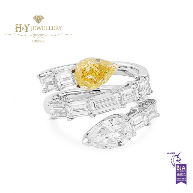 White Gold Pear Cut Fancy Intense Yellow and White Diamond Snake Design Ring - 4.22 ct