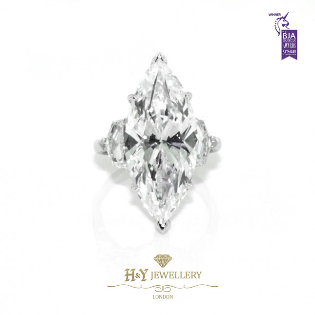 White Gold Marquise Diamond Ring with Shield Side Diamonds - 13.26 ct