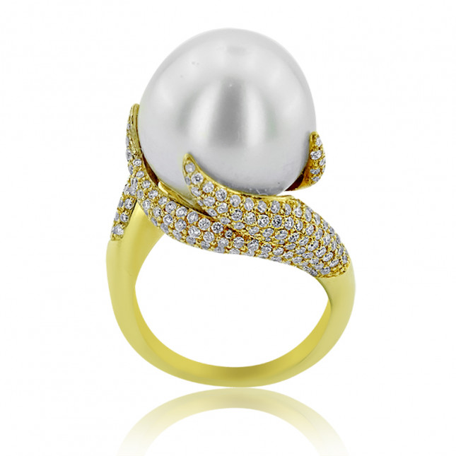 Pearl and Diamond  Fire Design Ring
