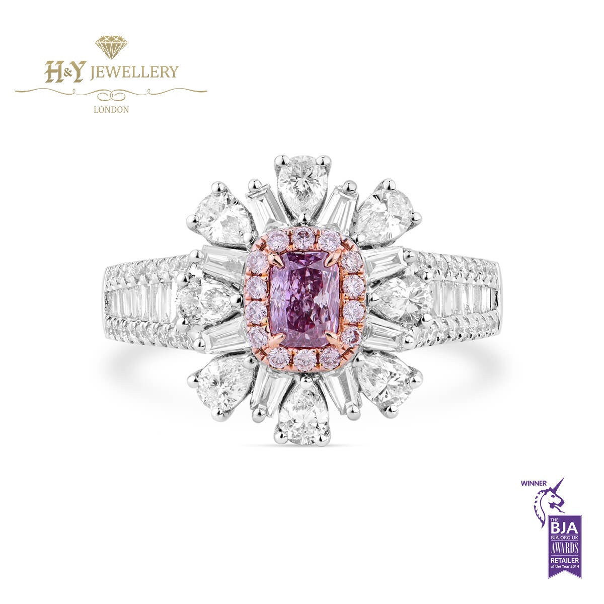 7f343b9274606 White Gold Fancy Pink Radiant Cut and White Diamond Ring - 1.44 ct