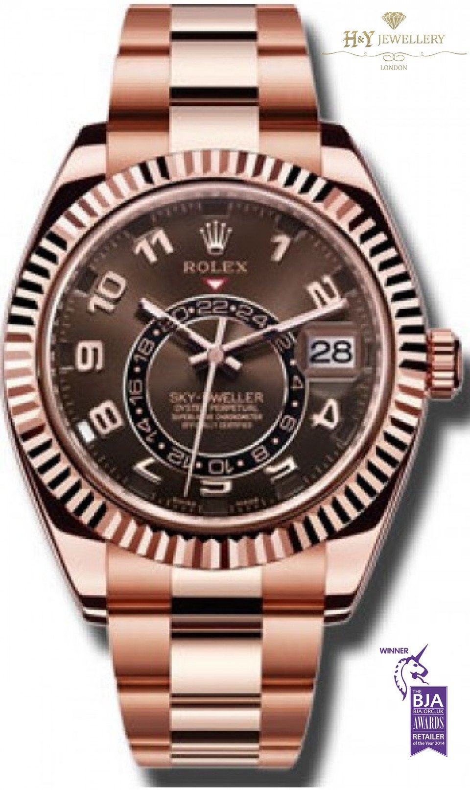 Rolex sky dweller full rose gold ref 326935 for Retail price watches