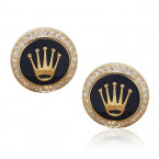 Rolex Design Cufflinks -Yellow Gold Dark Blue Enamel  With Brilliant Cut Diamonds