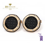 Audemars Piguet Rose Gold Cufflinks with Black Tapisserie pattern  - ref BM0724.OKU.04.N028