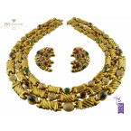 Yellow Gold Set set with Precious Stones and diamonds - 27.50 ct
