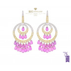 White and Yellow Gold Pink Sapphire and Diamond Earrings - 45.11 ct