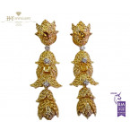 Yellow Gold Earrings Set with Yellow Sapphires and Diamonds - 18.91 ct
