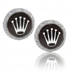 Rolex Design Brown Enamel Cufflinks With Brilliant Cut Diamonds