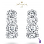 David Morris White Gold Rose Cut Diamond Earrings - 4.50 ct