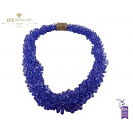 Rose Gold Tanzanite Briolette Necklace with a Diamond Clasp - 942 ct