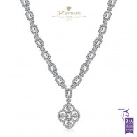 White Gold Exclusive Flower Necklace D-G , IF-VS1