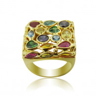 Yellow Gold Square Multi Colored Ring