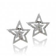 Platinum Double Star Earrings with Diamonds
