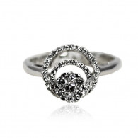 White Gold Oval Design Engagement Ring With Brilliant Cut Diamonds