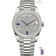 Rolex Day Date 40 White gold with Factory Diamonds and Sapphires - ref 228349RBR