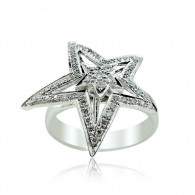 Platinum Double Star Ring with Diamonds