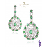 Emerald Statement Earrings - 19.88 ct