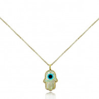Mother of Pearl and Diamond Fatima Hand Pendant