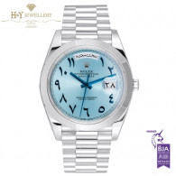 Rolex Day Date Platinum Arabic Numerals Ice Blue Dial - 228206