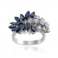 White Gold Sapphire And Diamond Ring