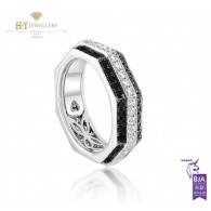 Ananya White Gold Balance Twin Ring set with White and Black Diamonds