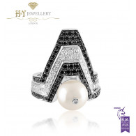 Ananya White Gold Balance Twin Ring set with a Pearl, White and Black Diamonds