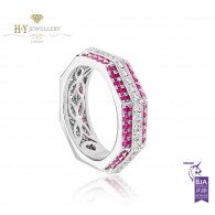 Ananya White Gold Balance Twin Ring set with Pink Sapphires and Diamonds