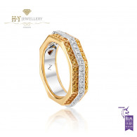 Ananya White Gold Balance Twin Ring set with Yellow Sapphires and Diamonds