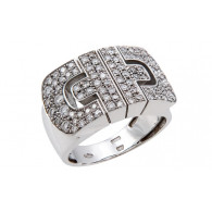 Bvlgari Parentesi Revolution 18K White Gold Ring With Brilliant Cut Diamonds