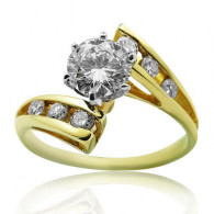 Yellow Gold Sweep Ring With Brilliant Cut Diamonds