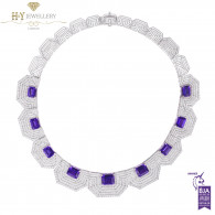 Ananya White Gold Celeste Bespoke Hexagonal Necklace set with Tanzanite and Diamonds