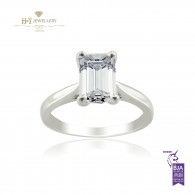 Platinum Emerald Cut Engagement Ring - 1.27 ct