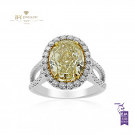 White Gold Yellow Diamond Ring - 3.24 ct