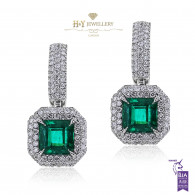 White Gold Diamond Emerald Earrings - 4.49 ct