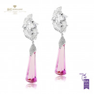 White Gold Pink Topaz Earrings - 40.51 ct