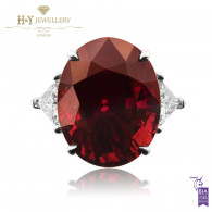Red Ruby Oval Ring with Diamonds - 12.82 ct