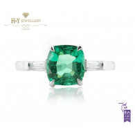 White Gold Green Zambian Emerald Ring with Diamonds - 1.35 ct