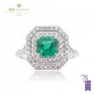 White Gold Zambian Cushion Cut Emerald and Diamond Ring - 1.60 ct