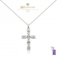 White Gold Oval Cut Diamond Cross Necklace - 3.05 ct