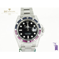 Rolex GMT Master II Steel Aftermarket Diamonds with Rubies and Sapphires   - ref 116710LN
