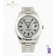 Rolex Day Date II White Gold with After market diamonds and sapphires- ref 218239