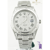 Rolex Date Just 41 Steel with After market Diamonds - ref 116334