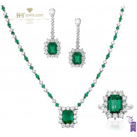 White Gold Emerald and Diamond Set - 45.03 ct