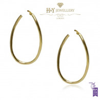 Yellow Gold Simple Oval Hoop Earrings