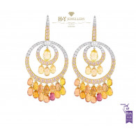 White and Yellow Gold Orange Sapphire and Diamond Earrings - 46.17 ct
