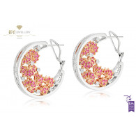Ananya Lotus Samsara Earrings set with Pink Sapphires and Diamonds