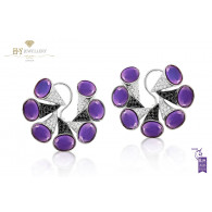 Ananya Nazar C-Clip Earrings set with Amethyst and Diamonds
