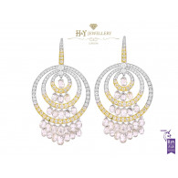 White and Yellow Gold Brio Diamond Earrings - 27.83 ct
