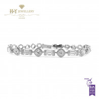 White Gold Mixed Cut Diamond Bracelet - 6.72 ct