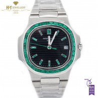 Patek Philippe Platinum Nautilus Design set with Emeralds  - ref 5711/113P-001