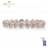 White Gold Fancy Mixed Cut Pink Diamond Bracelet - 6.89 ct